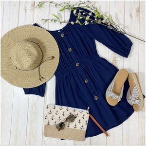 Infinity Raine Dresses - ✨LAST ONE✨Navy Off Shoulder Button Front Dress